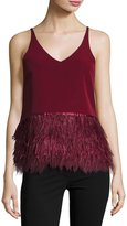 Romeo & Juliet Couture Sleeveless Ponte Feather-Hem Top, Burgundy