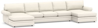Pottery Barn Pearce Roll Arm Upholstered U Double Chaise Sectional