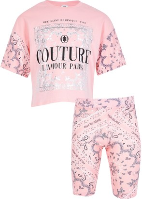 River Island Girls Pink 'Couture' print T-shirt outfit