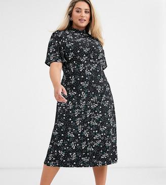 Fashion Union Plus high neck midaxi tea dress with flutter sleeve-Black