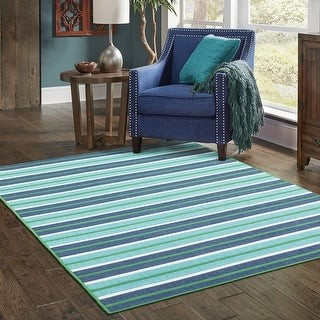 StyleHaven Martinique Feeling the Blues Striped Indoor/ Outdoor Rug