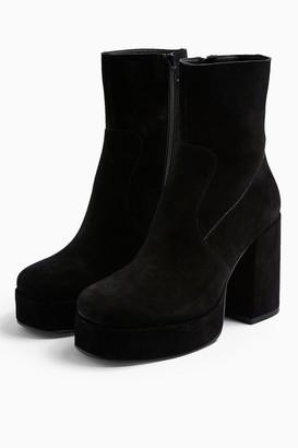 Topshop Womens Hogan Leather Black Platform Boots - Black