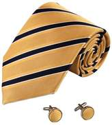 Y&G Gold Stripes Woven Silk Tie Cufflinks Present Box Set gift ideas for men A2119