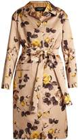 Rochas Belted rose-print satin coat