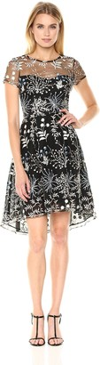 Adrianna Papell Women's Floral Embroidered High Low Dress with Sheer Short Sleeves