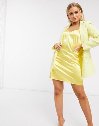 Parisian satin cami slip dresss in lemon