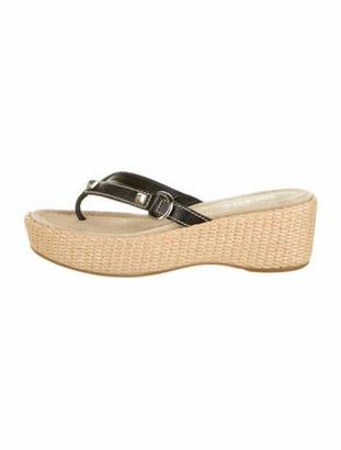 Prada Woven Leather Sandals Black