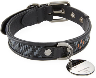 Ermenegildo Zegna Pelle Tessuta Leather Dog Collar