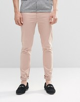 Asos Super Skinny Pants In Cotton Sateen In Light Pink