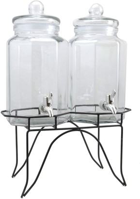 Gibson Home Party Duo Twin 1-Gallon Glass Beverage Dispenser