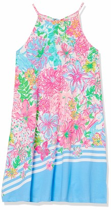 """Lilly Pulitzer Women's 19 1/2"""" Sleeveless Swing Dress with Halter Neckline and Tassels at Back Neck tie"""