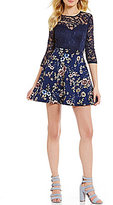 B. Darlin 3/4 Sleeve Illusion Lace Bodice to Floral Skirt Skater Dress