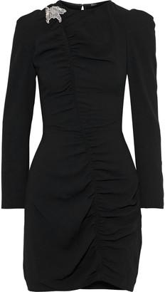 Maje Bead-embellished Ruched Crepe Mini Dress