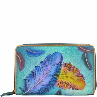 Anuschka Women's Twin-Zip Organizer Wallet Floating Feathers Size OSFA