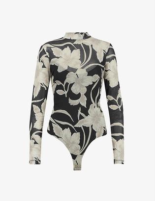AllSaints Elia floral-print mesh body