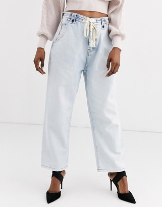 One Teaspoon tie detail relaxed fit bleach out jean