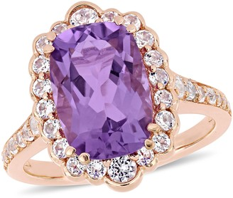 Sterling 4.85 cttw Amethyst & White Topaz Halo Ring