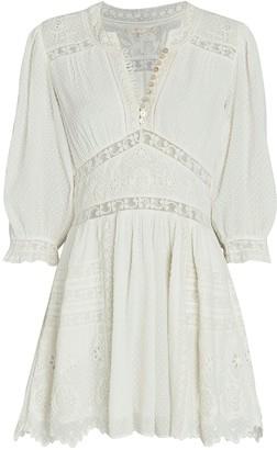 LoveShackFancy Leno Lace-Trimmed Mini Dress
