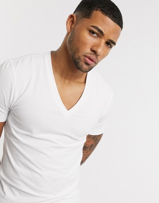 ASOS DESIGN organic muscle fit t-shirt with deep v-neck in white