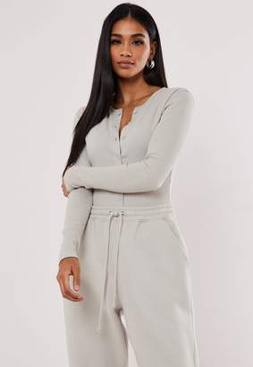 Missguided Grey Ribbed Long Sleeve Button Front Bodysuit