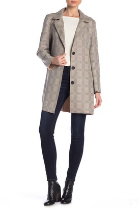 DOLCE CABO Scuba Knit Plaid Long Blazer