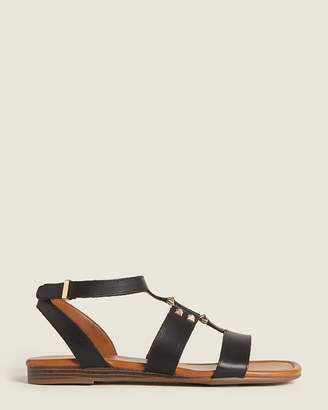 Franco Sarto Black Genova Flat Leather Sandals