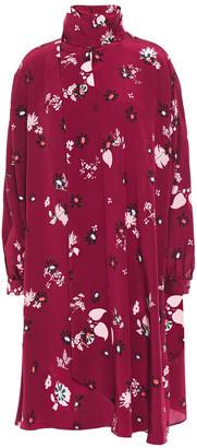 Valentino Tie-neck Floral-print Silk Crepe De Chine Dress