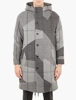 Neil Barrett Grey Checked Wool Parka