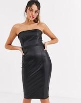 Lipsy bandeau pu midi pencil dress in black
