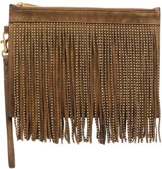 Saint Laurent Fringed Studded Clutch Bag