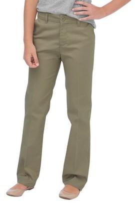 Dickies Girls School Uniform FlexWaist Slim Fit Straight Leg Flat Front Pants, Sizes 4-16