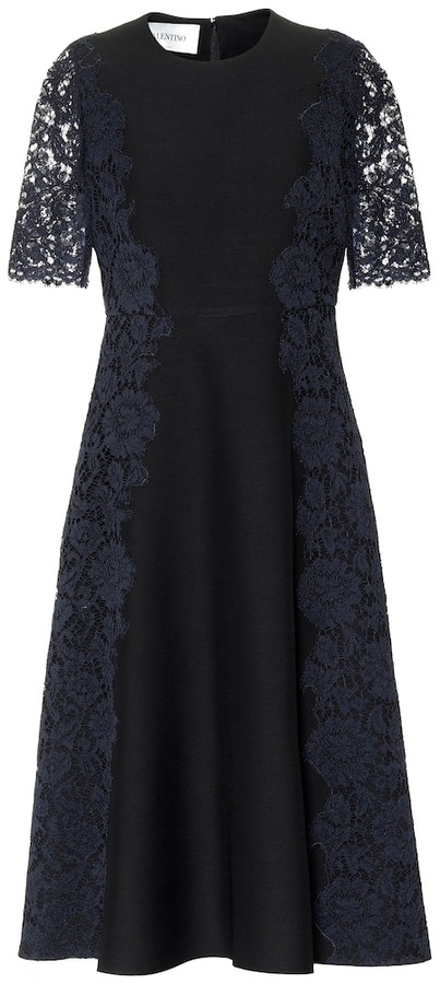 Valentino Lace-trimmed wool and silk midi dress