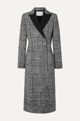 Carolina Herrera Double-breasted Crepe-trimmed Prince Of Wales Checked Wool And Silk-blend Coat - Black
