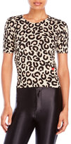Love Moschino Short Sleeve Leopard Print Sweater
