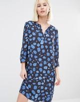 Selected Yana Shift Dress in Blue Print Combo