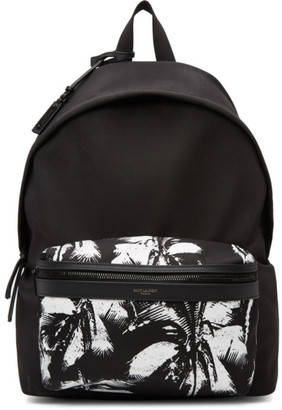 Saint Laurent Black Canvas Palm City Backpack