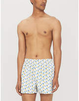 Sunspel Mens White Sun & Clouds Print Regular Fit Cotton Boxer Shorts