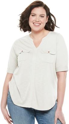 Plus Size SONOMA Goods for Life Elbow Sleeve Utility Shirt