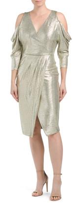 Metallic Wrap Dress