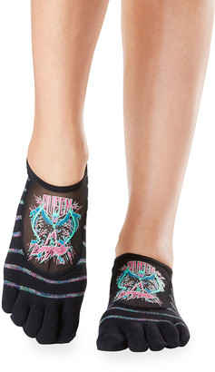 Toesox Luna Evil Queen Mesh Panel Full-Toe Grip Socks