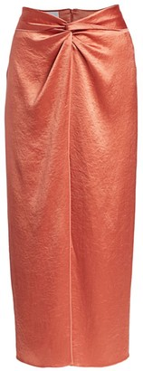 Nanushka Samara Washed Satin Midi Skirt