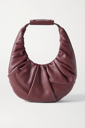 STAUD Moon Ruched Leather Tote - Burgundy