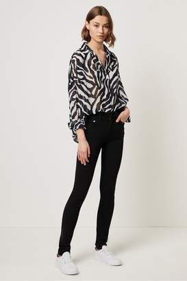French Connection Sheer Zebra Pop Over Shirt