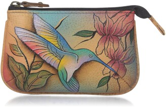 Anuschka Womens Leather Coin Purse - Hand-painted Original Art - Flying Jewels
