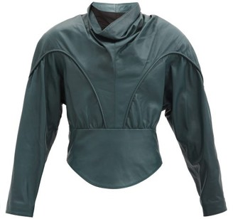 Isabel Marant Loneya Slouched High-neck Leather Blouse - Dark Green