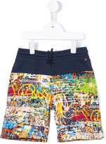 Junior Gaultier graffiti print shorts