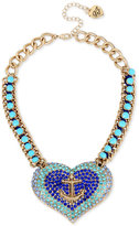 Betsey Johnson Gold-Tone Blue Crystal and Stone Anchor Heart Necklace
