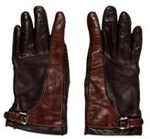 Judith Leiber Bicolor Leather Gloves