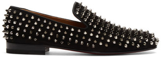 Christian Louboutin Black Suede Dandelion Spikes Loafers