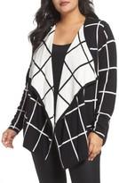 Foxcroft Plus Size Women's April Windowpane Open Front Cardigan